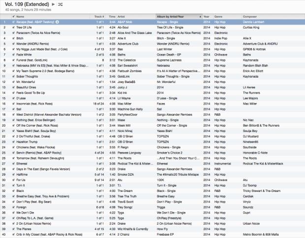 Volume 109 Extended Tracklist