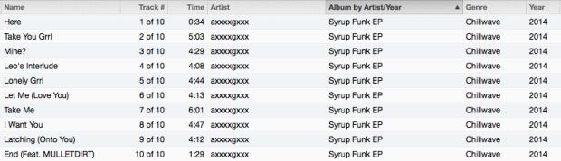 Syrup Funk EP Tracklist